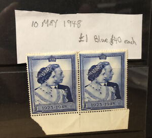 GB 1948 £1 Silver Wedding Stamps Unused x2