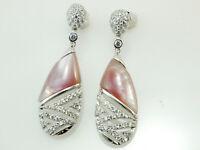 925 Silber Ohrringe mit Zirkonia Steinen  und rose` Perlmutt  39 mm Länge