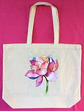 Thin Calico Shopping Bag With Lotus Flower On 1 side & Butterflies On The Other