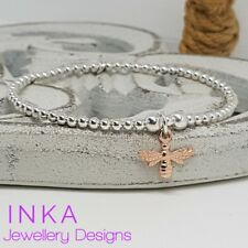 Inka 925 Sterling Silver beaded Stacking Bracelet with a Rose gold Bee charm