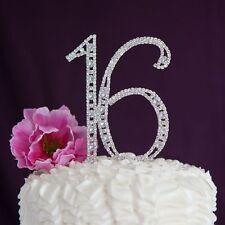 Silver Crystal Rhinestone Sweet Sixteen 16 Birthday Number Cake Topper