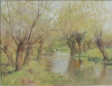 Original Oil painting of a Peaceful River Scene with Willow by Dorothy M Bristow