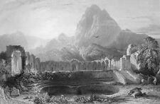 TUNISIA Roman Temple at Zaghwan - 155 Years Old Antique Print Engraving