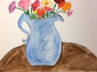 Matt Scalf Watercolor 9x12 ORIGINAL PAINTING Expressionism Flowers Vase Floral