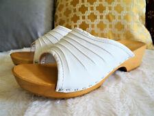 Weiß CLOGS Schuhe Holzclogs Damen Pantoletten Leder Holzsohle Made in Poland 9)
