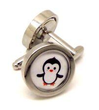 penguin pattern cufflink pair silver men gift Wedding business w