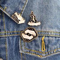 3PCS EnamelMagic Gesture Book Fire Witch Brooch Pin Jacket Shirt Badge Brooch PR