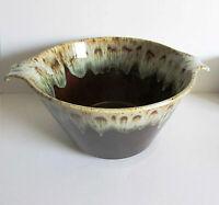 "Brown Drip Glaze Stoneware Vintage Kitchen Bowl side handles 8.5"" across FREE SH"