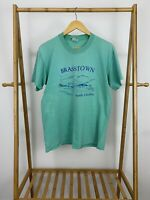 VTG Brasstown North Carolina Single Stitch Teal Stedman T-Shirt Size L USA