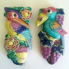 ART DECO VTG 1940'S JAPAN ART POTTERY HAND PAINTED BIRDS WALL POCKET VASES - 2PC