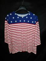 Coldwater Creek L Patriotic American Flag T Shirt 3/4 Sleeve Red White Blue Lg