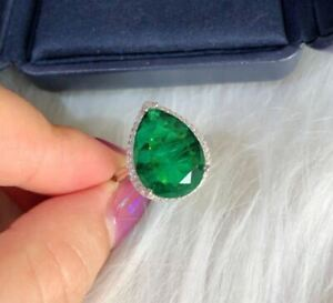 4Ct Pear Brilliant Cut Green Emerald Halo Engagement Ring 14K White Gold Finish