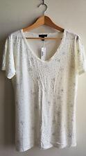 J CREW 100% Cotton Embellished Round V-Neck T-Shirt, Ivory, Size L, NWT
