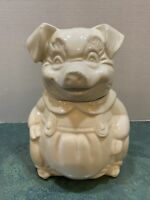"Vintage 1940's Unmarked Pig in Overalls Cookie Jar *11"" *Ivory *Ceramic"