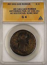 AD 141-43 Roman Rome Mint Antoninus Pius AE Sestertius Ancient Coin ANACS G-4