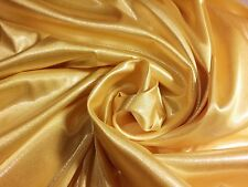 "Golden Yellow With Silver Foil Stretch Charmeuse Satin Fabric 56""W By The Yard"