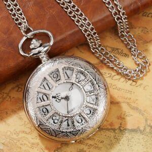 Pocket Watch Necklace Gift Unisex Silver Skeleton Steampunk Chain Necklace Retro