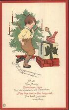 Christmas - Boy w/ Jack in the Box & Toy Train Series 726E c1915 Postcard