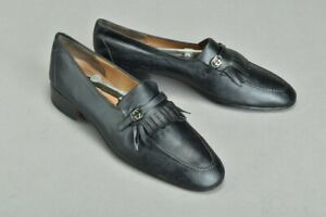 City Gentleman's Size 44.5 Gucci Black Leather Loafer Shoes with Trees. Ref APB