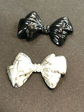 "3"" x 2"", Free Shipping Bow Pins Brooch Silver & Black"