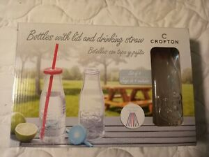Crofton Bottles with Lids & Straws Assorted Colors  4 Bottles & 8 straws w/ lids