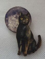 Black Cat & Moon Brooch or Scarf Pin Wood Accessories NEW Fashion