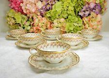 6 Haviland Limoges Porcelain Cups & Saucers Schleiger 349A ~ Roses ~ Double Gold