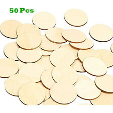 """2"""" Unfinished Round Wooden Disc Blank Wood Cutout Circles Slices Discs DIY"""