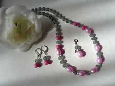 Außergewöhnliche Kette  lila Perlen Strass gefrostete Perlen grau  UNIKAT