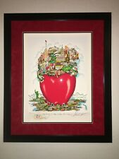 New York NYC CHARLES FAZZINO APPLE-LY IN THE CENTER OF IT ALL Remarque FRAMED D*