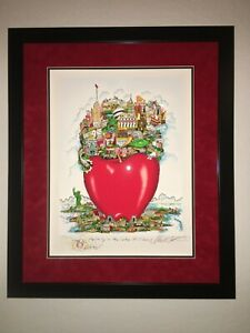 New York NYC CHARLES FAZZINO APPLE-LY IN THE CENTER OF IT ALL Remarque FRAMED DX