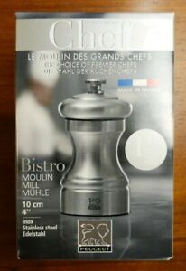 """Peugeot 33033 Bistro Chef Pepper Mill 10cm 4"""" Stainless Steel Made in France"""