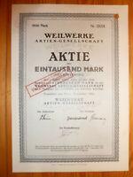 "D: RAD / MOTORRAD ""TORPEDO"": Weilwerke A.G, Frankfurt am M., 1921, 1000 MARK *"