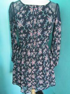LADIES ATMOSPHERE NAVY BLUE/FLORAL PRINT DRESS LACE SHOULDERS/BACK SHEER SLEEVE