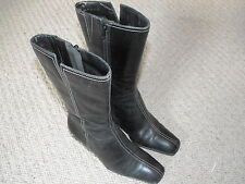 Ecco Girls Black Full Zip Boots In Size 2 1/2 UK Immaculate Worn Few Times Only