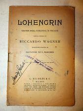 Teatro - Lohengrin parole e musica Riccardo Wagner traduzione Marchesi Ricordi