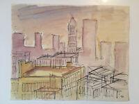 "Emil Hess Signed ""City"" Original Watercolor 8"" x 10"""
