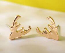 Pair Of Christmas Gold Tone Reindeer Stud Earrings Ear Rings Xmas Deer ER52 UK