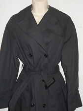 DSCP Trench Coat Womens 12R Double Breasted Black Garrison Collection 6t3