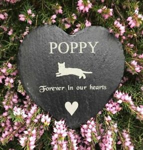 Personalised Engraved Slate Heart Pet Memorial Grave Marker Plaque Sign Pet Cat