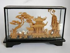Antique Vintage Chinese Carved Cork Diorama Pergola Garden Cranes Glass Display