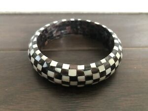 COOL Checkered Inlaid Shell Wood Bangle Bracelet Op Art Retro Style #2 WIDE