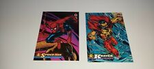 2 CROMOS ESPECIALES MARVEL ILUSTRADOS SPIDERMAN Y KRAVEN