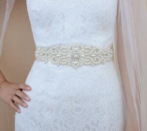 Pearl Applique Bridal Rhinestone Wedding Sash Belt Ivory Ribbon Bridesmaid Dress