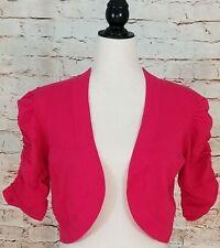 Madison Leigh Puff Ruched Sleeve Dark Pink Fuchsia Bolero Shrug Sweater 8