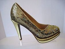Cole Haan Chelsea Double Platform Gold Sequin Pumps, Size 8.5 B Excellent