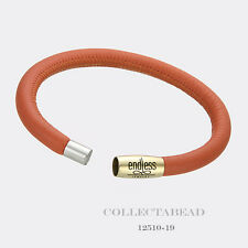 """Authentic Endless Gold Plated Single Coral Leather Bracelet 7.5"""" 12510-19"""