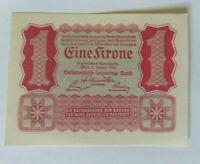 1922 1 Eine Krone Austria Old Vintage Paper Money Banknote Currency Antique