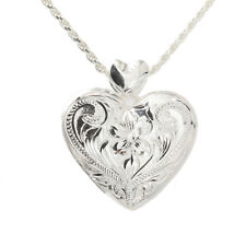 Sterling Silver Hawaiian Scroll Heart Locket Pendant (L) ESP2642