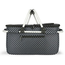 Eaglemate Foldable Outdoor Picnic Insulated Cooler Basket Tote Black/ White dot